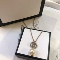 Hot sale letter full diamond pearl pendant woman necklace jewelry fashion temperament pearl necklace