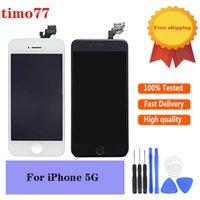 Piezas de reparación de paneles táctiles de teléfono celular de alta calidad LCD al por mayor LCD para iPhone 5 5G 5S Pantalla de pantalla Digitalizador Conjunto de reemplazo con herramientas