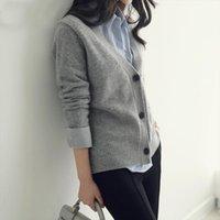 Outono roupas inverno grosso cashmere suéteres mulheres v pescoço cardigan feminino tricô lã manga longa moda
