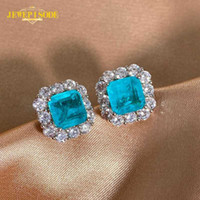 Jewepisode Top Quality Paraiba Tourmaline Gemstone Stud Earrings for Women Solid 925 Sterling Silver Cocktail Party Fine Jewelry