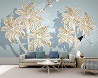 Plantas encargo de la foto del papel pintado 3D nórdica moderna minimalista dibujo lineal y flores HD decorativo hermoso fondo de pantalla