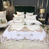 Seidig weich Palace Weiß Bettwäsche Set Seide / Baumwolle Goldene Stickerei Bettbezug Bedsheet Bettwäsche Kissen- König Queen Size