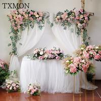 TXMON Wedding rosa Blumenbogen-Fälschungs-Blumen-Fenster Triangles Künstliche Reihe Blume Wall Hotel Hochzeit Bühnenhintergrund Dekorative