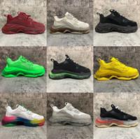New Fashion Paris 17FW Triple-S Sneaker Triple S calçados casuais pai para de Homens Mulheres verde Ceahp Sports tamanho da sapata 36-45