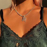 Mode englische Alphabet Halskette ins Modelle Explosion Frau mit Strass Anhänger einfachen Legierung Frauen Halskette