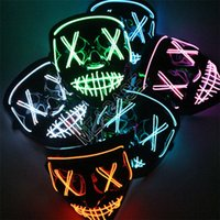 LED Masque Visage lumineux Facemasks facial Couverture Halloween Cosplay DJ Party masques effrayants Glow In Dark 8 Colorsin stock de D81805