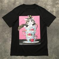 Mens Fashion Street T-shirt 2020 huile Cat tasse de thé peinture à manches courtes Polos Chemises Hommes Femmes Style haute qualité Hip Hop pull-over Tee