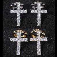 Hip Hop Croix Boucles d'oreilles pour Femmes Hommes Vintage Bijoux Cut Blanc CZ zircon cubique Diamants Clip Hoop Dangle boucle d'oreille de cadeau de Noël
