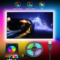 TV LED Backlight Faixa de DC5V SMD5050 1M 2M 3M 4M 5M Cabo de alimentação USB flexível RGB TV Faixa Bluetooth TV iluminação de fundo