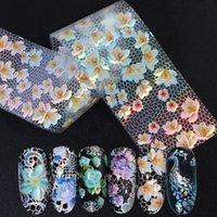 16PCS / مجموعة ميكس الدانتيل الأبيض نقل مسمار الفن رقائق التصوير المجسم الزهور تصاميم مسمار ملصقات ملصق الأغطية الديكور مانيكير