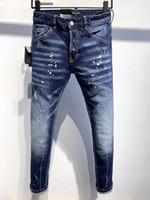 DSQ Kot Erkek Lüks Tasarımcı Kot Sıska Yırtık Serin Guy Nedensel Delik Kot Moda Marka Fit Jeans Erkekler Yıkanmış Pantolon 61262