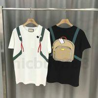 2020 Designer Luxus-Kleidung Sommer Herren Streifendruck T-Shirt Patchwork-Rucksack Druck T-Shirt T-Stück beiläufige T-Shirts T-Shirt-Oberseiten-T-Shirt