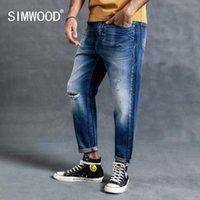 SIMWOOD 2020 весны зима Нового отверстие рваных джинсов мужчина прямых пяты Denim Jeans Мода хлопок Hip Hop Streetwear 190018