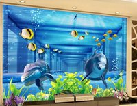 beautiful scenery wallpapers 3D three-dimensional space underwater world dolphin wallpapers living room background wall decorative painting