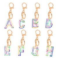 아크릴 문자 초기 열쇠 고리 반지 패션 자동차 키 링 홀더 키 체인 액세서리 개인화 z 26 알파벳 가방 매력 펜던트