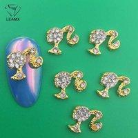 LEAMX 10 ADET / torba Temizle Rhinestones Çiviler Sanat süslemeler Güzel Kızlar Tırnak DIY Mücevher 3D Alaşım Çivi elmas Charms Tedarik L413