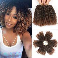 8 pulgadas 3 unids / set Marley trenzado trenzado sintético pelo con trenzas de Ombre Sintético Malibob Crochet Pelo Extensiones para mujeres negras