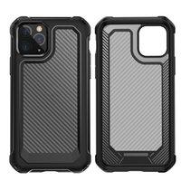 Nueva llegada de fibra de carbono Protección completa Funda a prueba de golpes para iPhone XS 11 Pro Max XR 6 7 8 más Bolsas de teléfonos móviles transparentes de cristal
