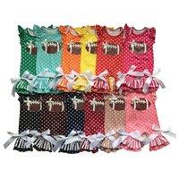 Детские Дизайнерская одежда Хлопок девушки Футбол Rompers Dot Printed Малыша девушки Комбинезоны Сборки Infant Boutique легкий костюм с шортами Детская одежда DW5783