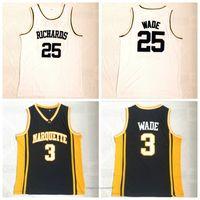 Richards 25 dwyane 3 wade المدرسة الثانوية الفانيلة الرجال جميع خياطة كرة السلة جيرسي تنفس زي الرياضة أعلى جودة