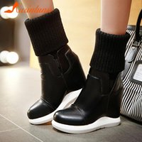 Karin 2020 New Design Snow Boots Woman Shoes Platform Wedge High Heels Comfy Warm Plush Slip-On Stretch Boots Female