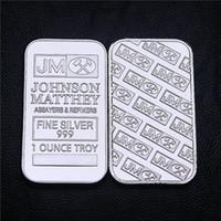 Non magnetico! Johnson Matthey JM Morgan 1 OZ argento placcato 50 millimetri x 28 mm decorazione della barra americano della moneta trasporto libero 20pcs / lot nuovo di zecca
