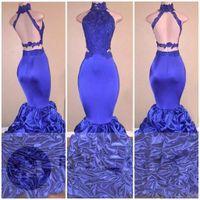 부르고뉴 인어 긴 댄스 파티 드레스 2020 아프리카 레이스 Appliqued 민소매 열기로 돌아 가기 장식 조각 뻗 스윕 기차 저녁 파티 가운