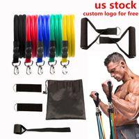 Estados Unidos, 11 pcs / set pull corda látex fitness exercícios resistência faixas elásticas exercícios corporais fitness resistência fy7007