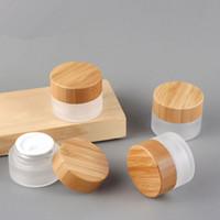 20G ML Verre givré Cream Cream Jar Visage de verre rechargeable Crème Cosmétiques Conteneur avec couvercles de bambou et doublures intérieures pour ombre à paupières
