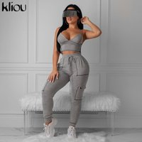 Kliou women gray casual two pieces set elastic high waist dr...