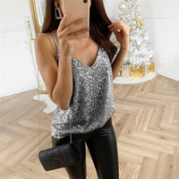 Fashion Sequin Women Tops Tanks Summer Loose Sling Tanks & C...