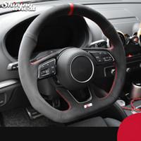 Alcantara noir cousu main direction roue de voiture Couverture pour Audi A3 (8V) A4 (B9) Avant A5 (F5) A1 (8X) Q2 2016-2019 Sportback