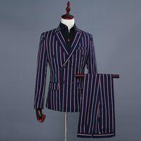 Abiti da uomo Blazer Semplici uomini formali 2021 Abito a maniche lunghe Mens Casual Prom per Blue Stripes Suita Slim fit Abbigliamento Due pezzi Set Cappotto P