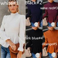 luva longa das mulheres plissadas shirt Blusas Chiffon Tops Ruffle Moda Neck pulôver plissado Shirts feminino com capuz Elegent Boutique pano LY810