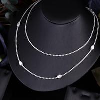 سلاسل كولير الزفاف سلسلة قلادة طويلة للنساء الشرير الهيب هوب صخرة مجوهرات حجر زركون جانيكيلي أزياء واضحة بيضاء