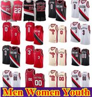 Homens Mulheres crianças jovens Clyde Drexler 22 Carmelo Anthony 00 costurado Basketball Jersey Mens Damian Lillard 0 CJ 3 McCollum Rip City Camiseta