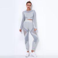 2020 INS Frauen Yoga Set Seamless Sportswear 2 Stück Set Langarm-Shirt schwitzen crop top und mit hoher Taille Lange Hosen Capri Yoga Anzug