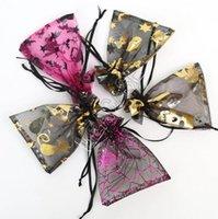 100PCS / PACK Organza Saco 9 * 12cm malha Doces Sacos do papel de embrulho de embalagem Halloween Pumpkin ouro Crânio Bat Aranha Web Printing Bouquet Totes D81804
