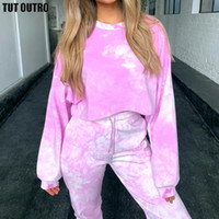 Sweatshirt+ Tie- Dye Pants Hooded 2 Pieces Sets Women Clothing...