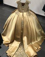 Gold Cristal Fleur Girls Robe De Pareant Robe Robe Boule Perlée 2021 Toddler Enfant Vêtements Little Enfants Robes d'anniversaire
