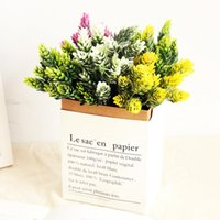 21 têtes / paquet plantes herbe cône de pin Simulation d'ananas artificiels bricolage vases maison pour faux décoration fleur en plastique Pompon