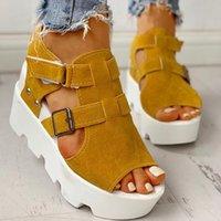 امرأة الصنادل السيدات هوك منصة صيف حلقة الأحذية النسائية فلوك اللمحة تو الكعوب الأوتاد أحذية عالية للنساء Y200620 عادية