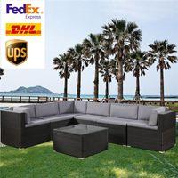 Yumuşak Minder (Siyah) SH000027DAA ile ABD STOK 3-5 Gün Kargo 7 Parçalı veranda mobilya Seti Açık Dilimli Konuşma Seti