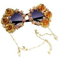 LVLOUISBAGLVVITTON Handmade Luxury Carving Gafas Sunglasses Women Glasses Feminino Chain Sol Flower Cat Female Oculos Eye Lentes S