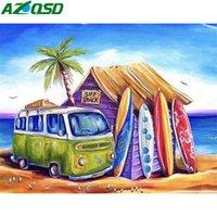 AZQSD adultes coloriage par numéros Mer Paysage Huile bricolage unique cadeau Unframe Peinture par numéros Bus Décoration