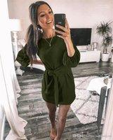 Sashes Sonbahar Kadınlar Saf Renk Elbise Günlük Gevşek Mürettebat Boyun Kadın Elbiseler Moda ile Tasarımcı Fener Kol Bayanlar Giyim