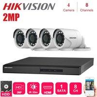 الأنظمة الإنجليزية Hikvision 4PCS في الهواء الطلق 2MP 4 في 1 HD كاميرا للرؤية الليلية مع 8 قنوات DVR مراقبة CCTV أطقم نظام الأمن