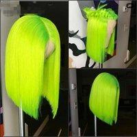13 * 4 sintética peruca dianteira do laço Cabelo Liso Bob Wigs Ombre Cor e Cor verde do laço frontal Cosplay curto perucas para mulheres
