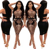Robes Femme sexy Mini robe à fleurs Paillettes Halter évider Robes Femmes Desinger Backless manches club Bodycon