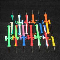 실리콘 넥타 컬렉터 키트 흡연 파이프 10mm Nector GR2 티타늄 네일 팁 DAB 조작 봉 CAPS 오일 장비 NC 짚